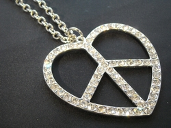 Ketting zilver, love, peace, strass - lang  (per ketting)